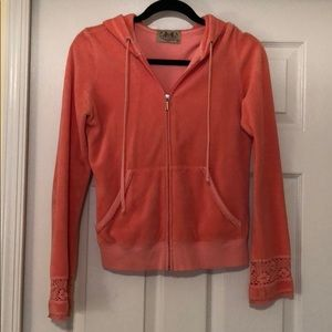 Juicy Couture, pink terry cloth zip up, Size Med